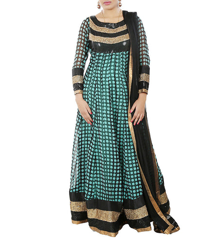 Green & Black Georgette Embroidered & Sequined Anarkali Suit