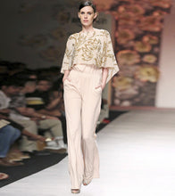 Beige Lycra Embroidered Jumpsuit With Cape