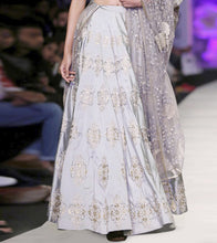 Grey Net Embroidered Lehenga Set