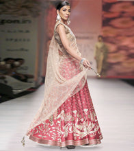 Red Net Embroidered Lehenga With Copper Jeweled Neckline Choli & Dupatta