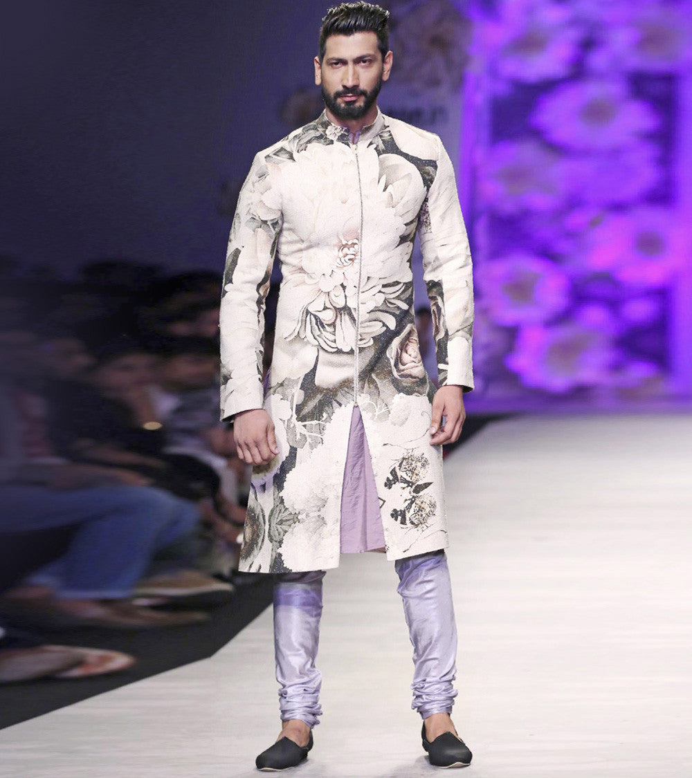Purple Silk Printed Sherwani With French Rayon Kurta & Patiyala/Churidar