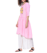 Pink Linen & Cotton Resham Embroidered Tunic