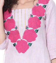 Beige Linen & Cotton Resham Embroidered Tunic