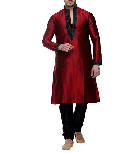 Maroon Taffeta Silk Embroidered Kurta & Churidar