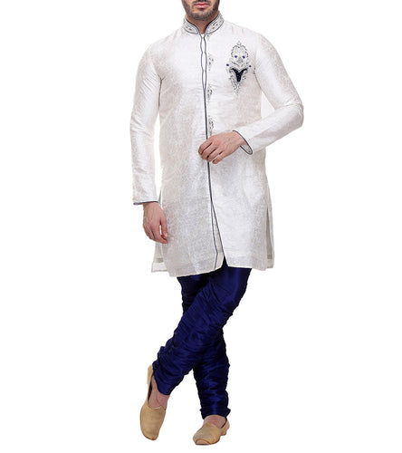 Off White Brocade Embroidered Kurta & Churidar