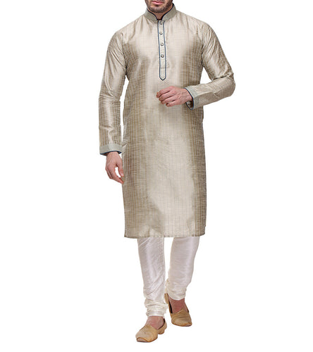 Beige Dupion & Art Silk Embroidered Kurta & Churidar