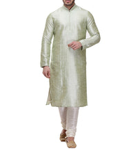 Green Dupion & Art Silk Embroidered Kurta & Churidar