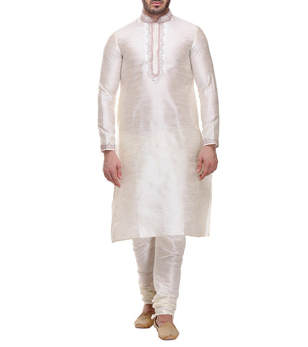 Off White Dobby & Dupion Embroidered Kurta & Churidar