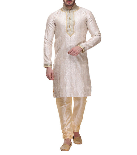 Off White Zari & Brocade Embroidered Kurta & Churidar