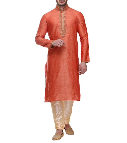 Orange Bhagalpuri Slub Dupion Embroidered Kurta & Churidar