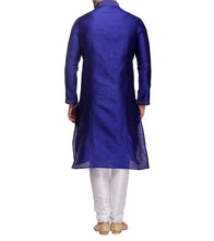 Blue Dupion & Art Silk Embroidered Kurta & Churidar