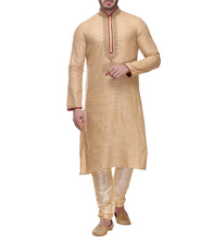 Golden Bhagalpuri Slub Dupion Embroidered Kurta & Churidar