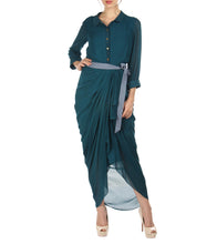 Teal Blue Georgette Dress