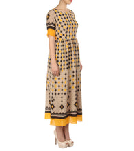 Yellow Cotton Silk Printed Dress