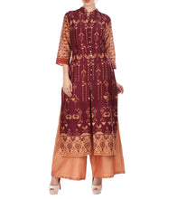 Maroon Chanderi Printed Kurti With Palazzos