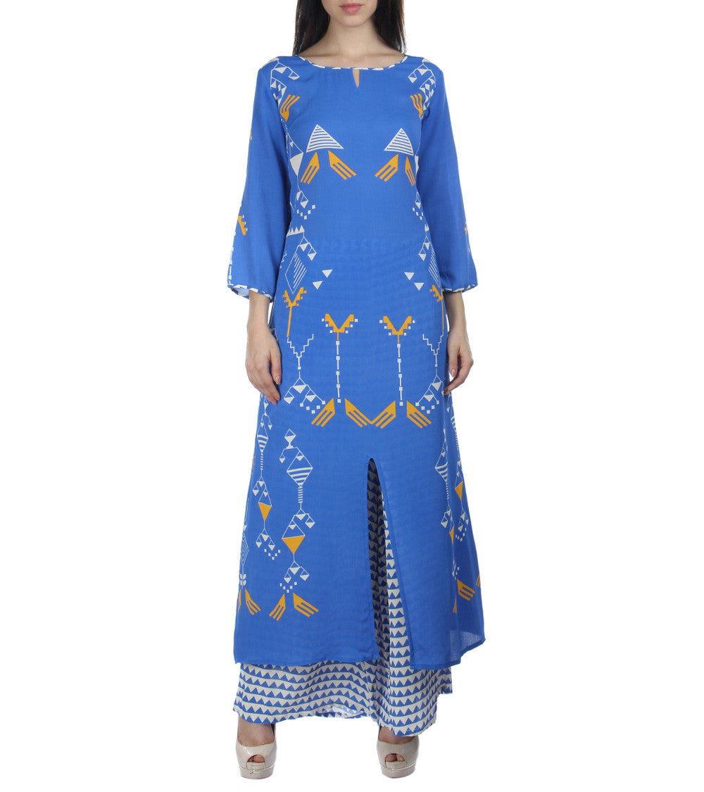 Blue Georgette Printed Kurti With Palazzos