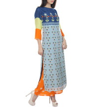Powder Blue & Orange Crepe Printed Kurti With Palazzos