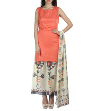 Off White & Peach Linen & Chanderi Printed Dress With Dupatta