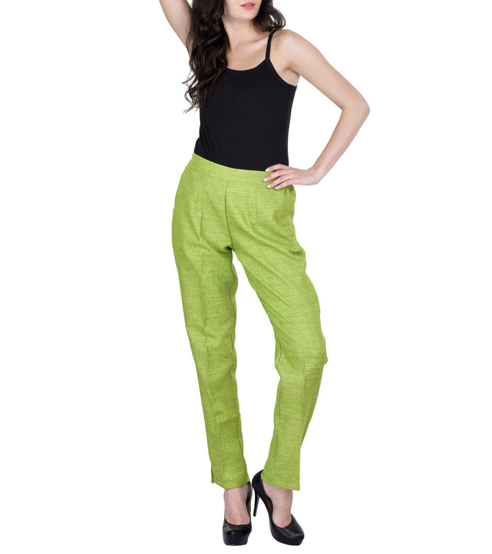 Pista Green Polyester Solid Pants