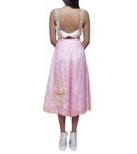Powder Pink Tussar Silk Dabka Bralet & Mirror Work Suspenders With Culottes