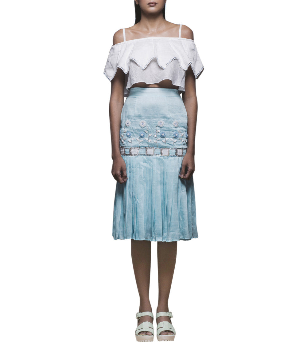 White & Powder Blue Pure Linen Resham Embroidered Crop Top And Peplum Skirt