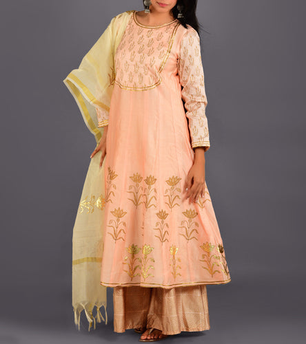 Peach Chanderi Printed Stitched Suit With Palazzos And Dupatta