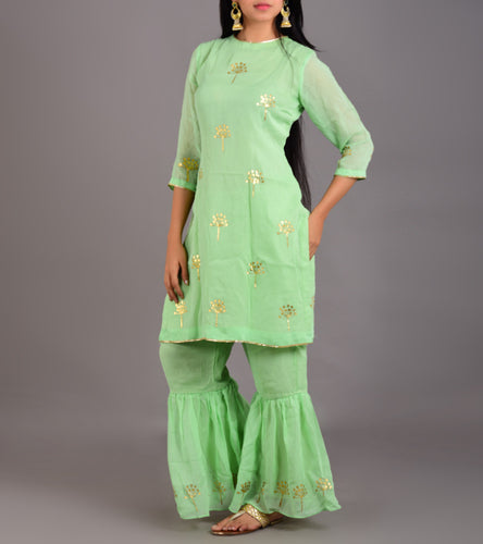 Green Georgette Printed Stitched Suit With Palazzos And Dupatta