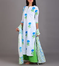 White Cotton Printed Stitched Suit With Palazzos And Dupatta