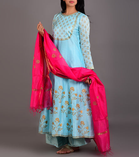 Blue Chanderi Printed Stitched Suit With Palazzos And Dupatta