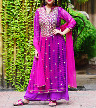 Purple Georgette Printed Stitched Salwar Kameez With Dupatta