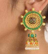 Multicoloured Alloy Metal Bead & Stone Embellished Earrings