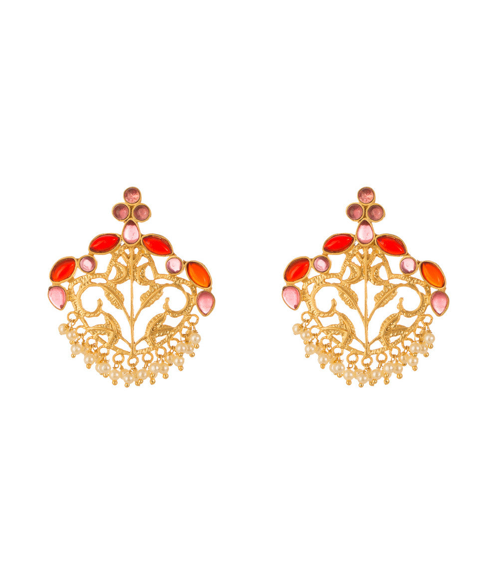 Ruby & White Alloy Metal Stone Embellished Earrings