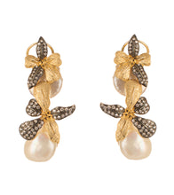 Silver , Golden & White Alloy Metal Bead & Stone Embellished Earrings