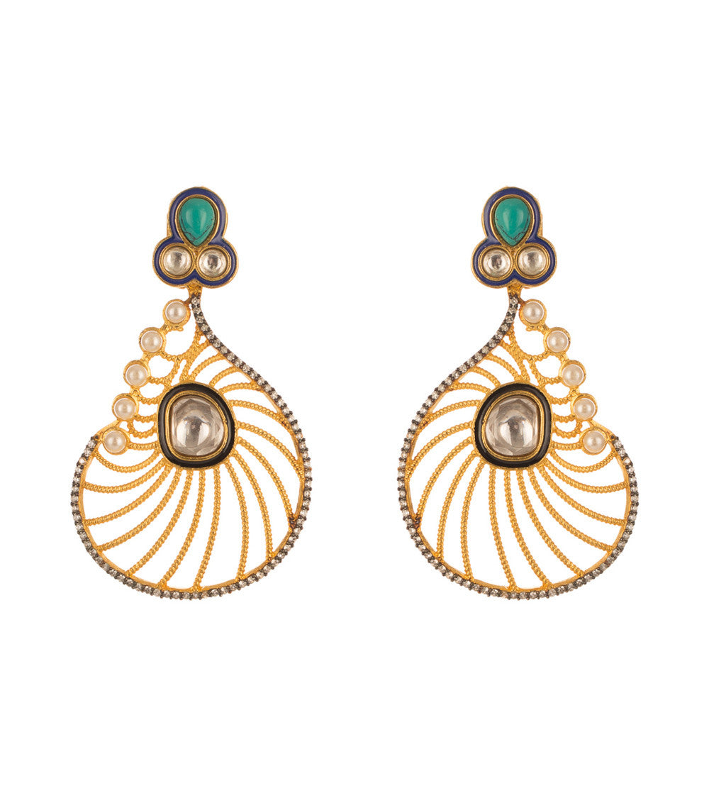 Golden Alloy Metal Stone Embellished Earrings