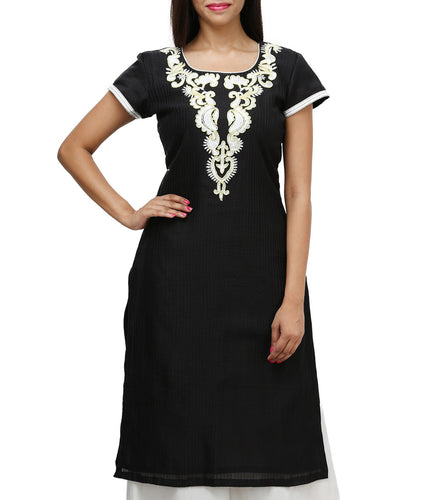 Black Art Silk Embroidered Kurti