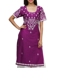 Purple Cotton Embroidered Kurti