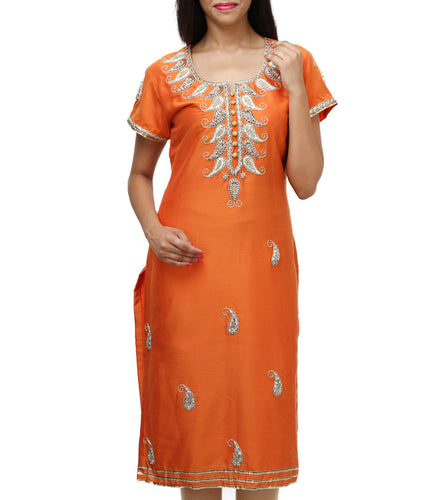 Orange Cotton Gota Patti Kurti