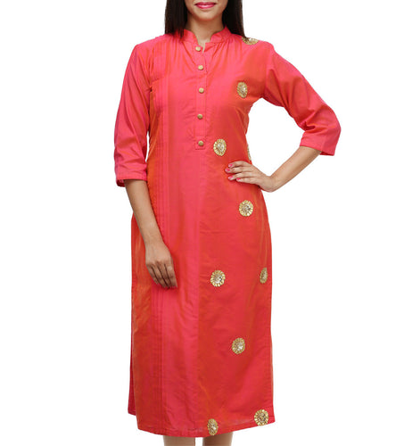 Pink Cotton Gota Patti Kurti