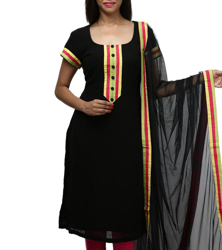 Black Cotton Kurti With Dupatta