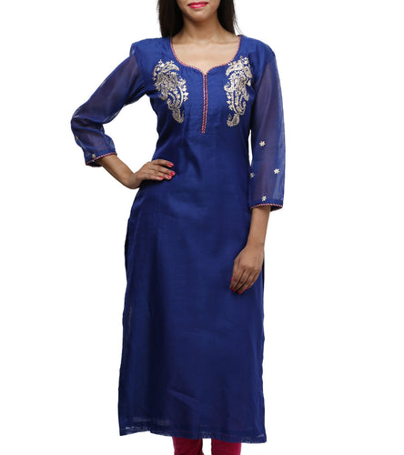 Blue Art Silk Embroidered Kurti