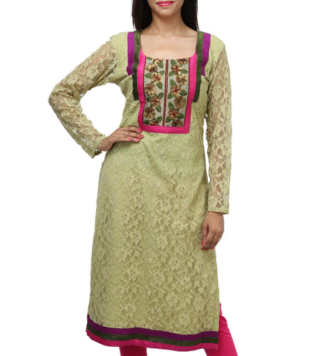 Green Net Sequined & Embroidered Kurti