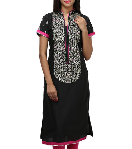 Black Cotton Embroidered Kurti