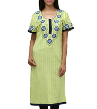 Green Cotton Embroidered Kurti