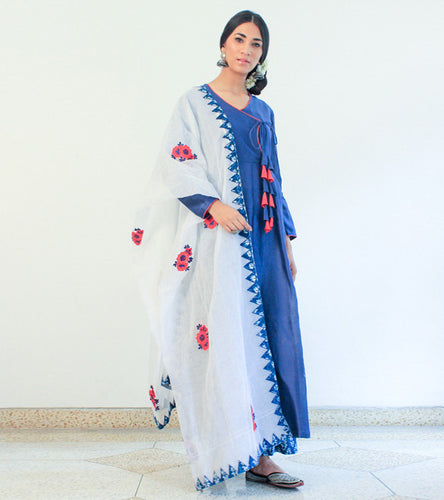 Blue Cotton Appliqued Angrakha With Palazzos & Dupatta
