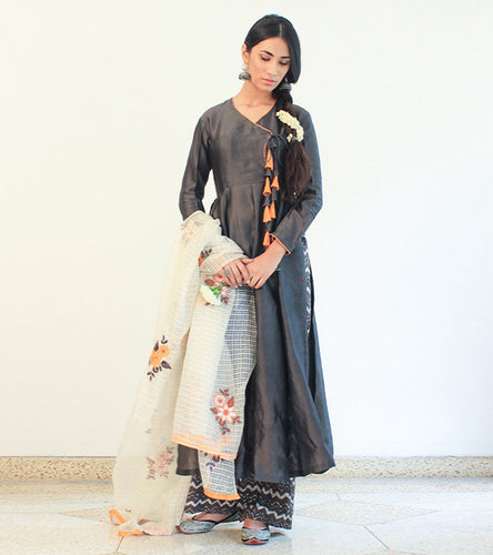 Brown Cotton Appliqued Angrakha With Palazzos & Dupatta