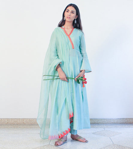 Green Cotton Appliqued Angrakha With Pants & Dupatta