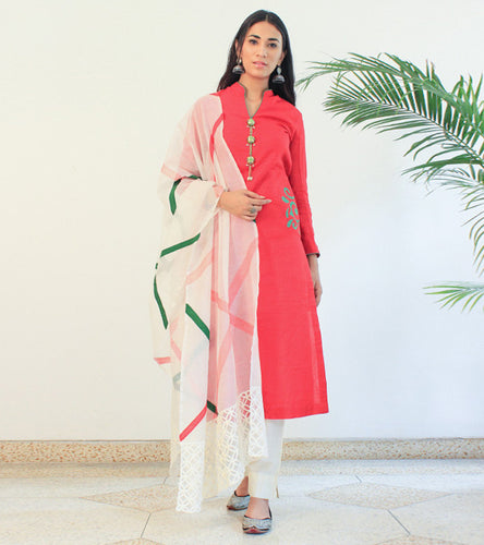 Red Chanderi Appliqued Salwar Kameez With Dupatta