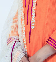 Orange Chanderi Cotton Appliqued Salwar Kameez With Dupatta