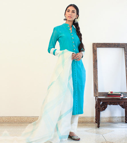 Turquoise Chanderi Cotton Appliqued Salwar Kameez With Dupatta