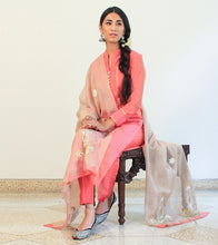 Pink Chanderi Cotton Appliqued Salwar Kameez With Dupatta